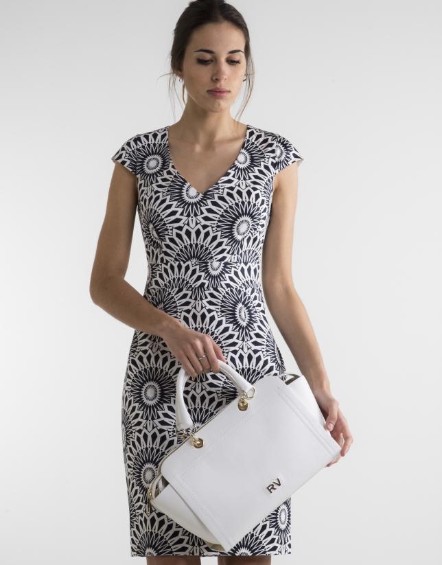 Vestido recto estampado blanco/azul