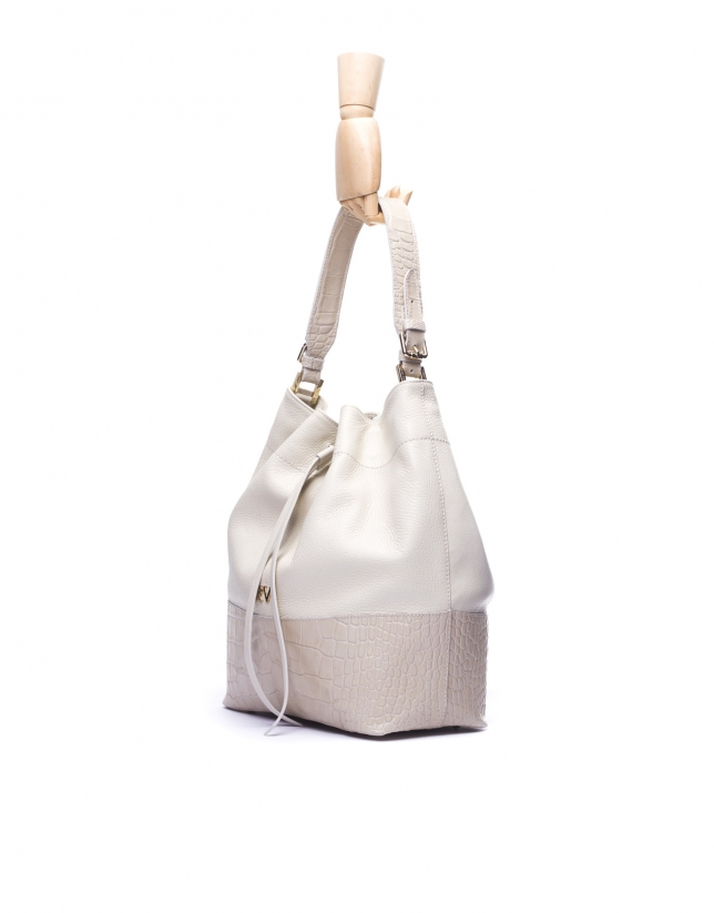 ADAM: Hobo bag with combined off-white leathers