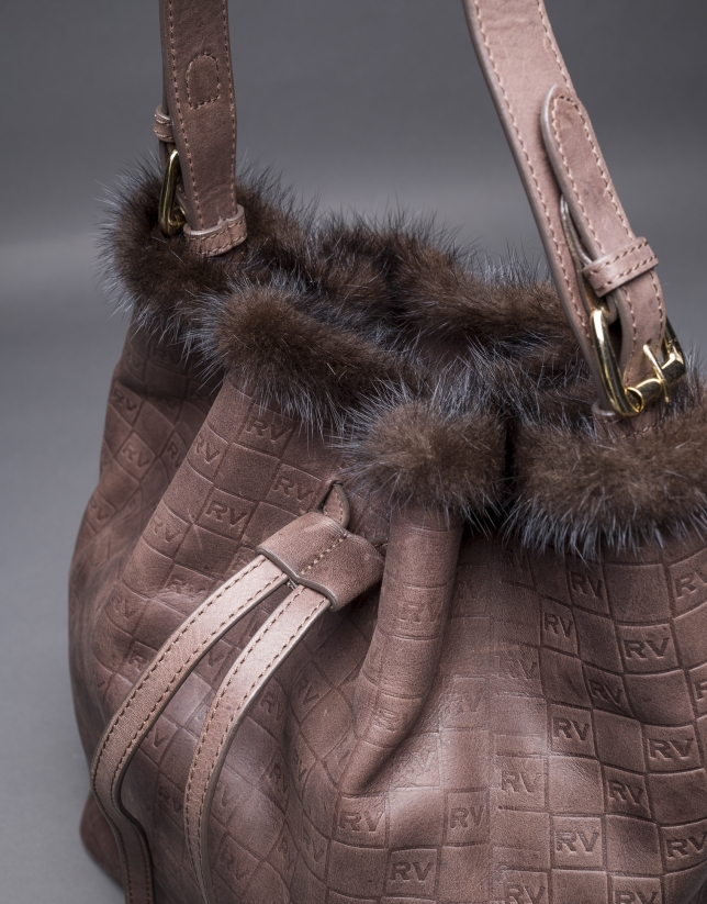 Brown leather Adam bag with mink trimming and embossed RV