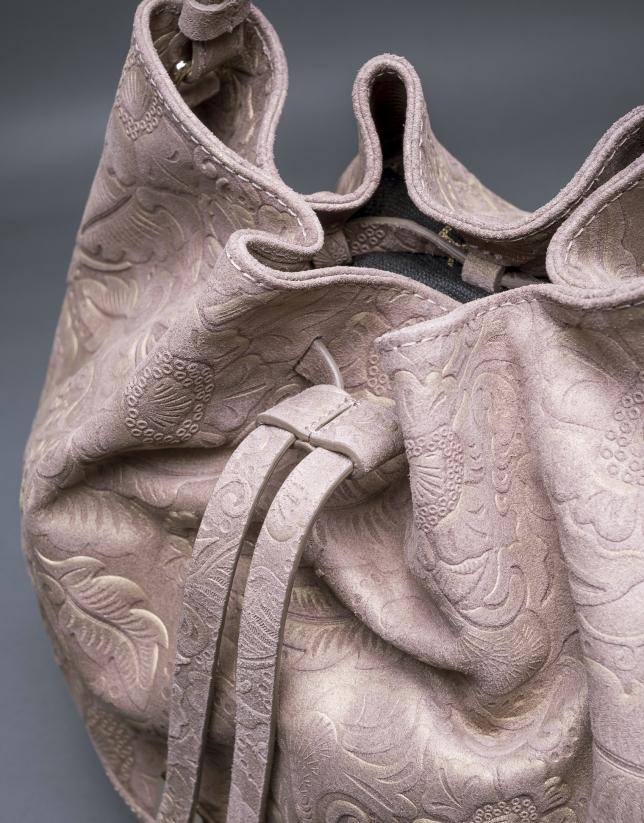 Bolso Adam Barroco en piel topo brocada y metalizada