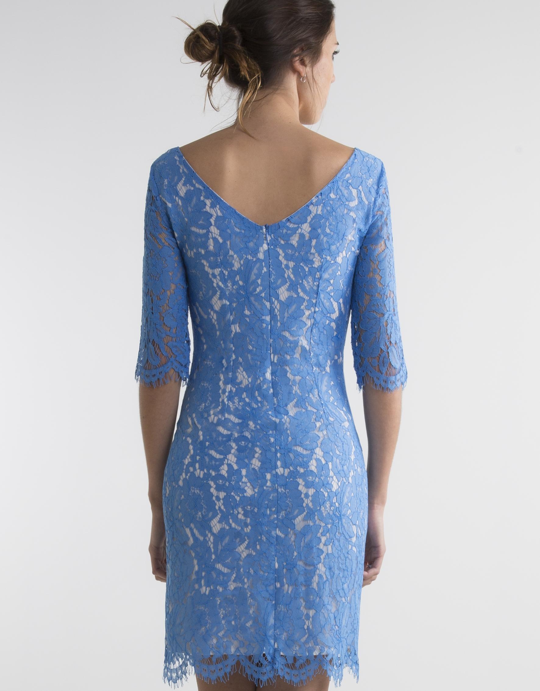 blue lace dress dresses woman roberto verino