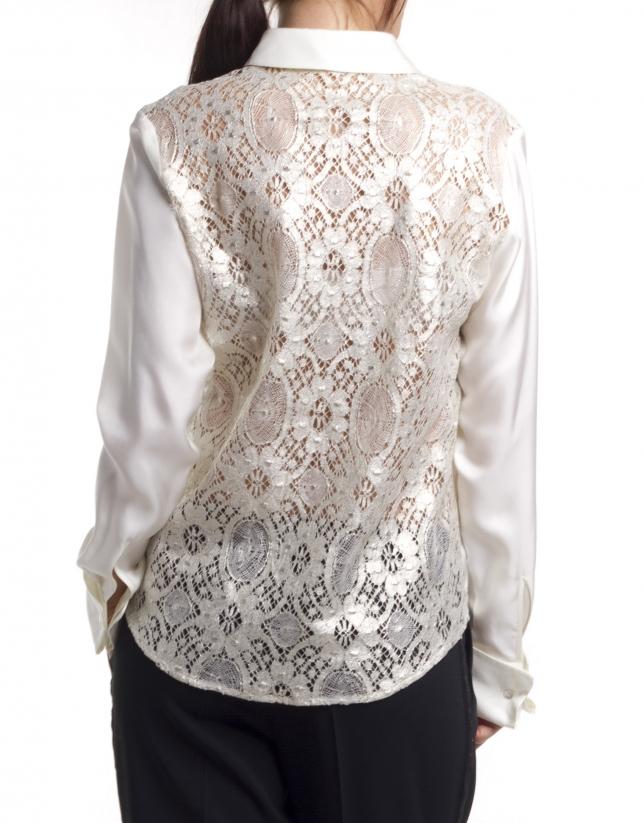 Camisa de seda de manga larga
