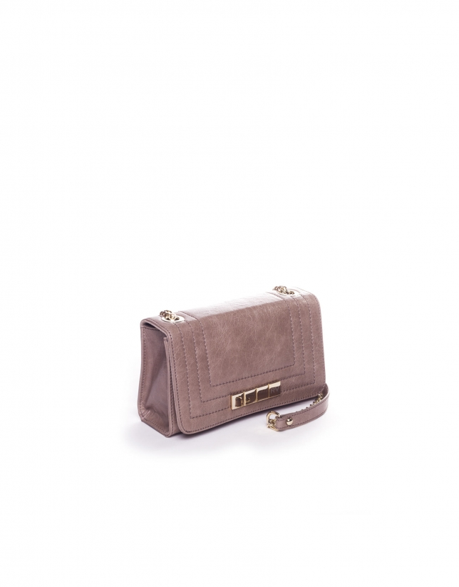 SAMBA PIEDRA: Distressed leather bag with flap