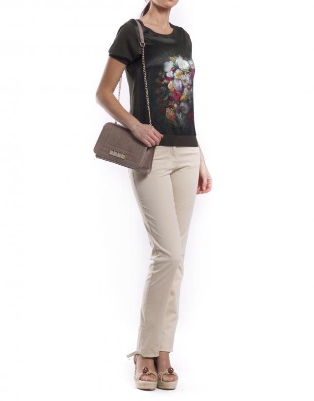 SAMBA PIEDRA: Distressed leather bag with flap