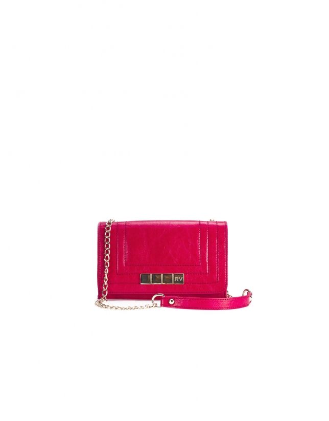 SAMBA FUCSIA: Distressed leather bag with flap