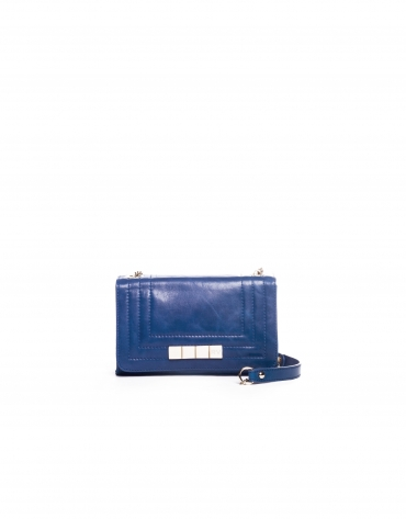 SAMBA AZUL: Distressed leather bag with flap