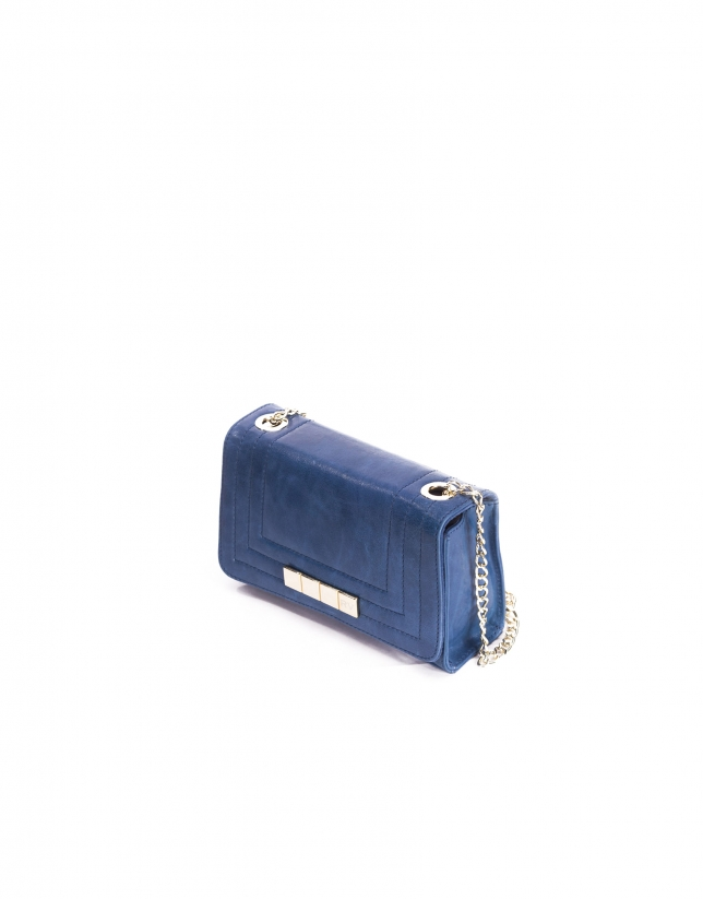 SAMBA BLUE: Distressed leather bag with flap