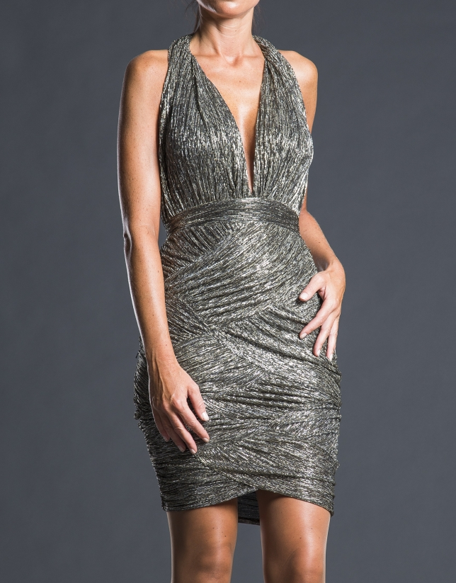 Silver lamé draped dress
