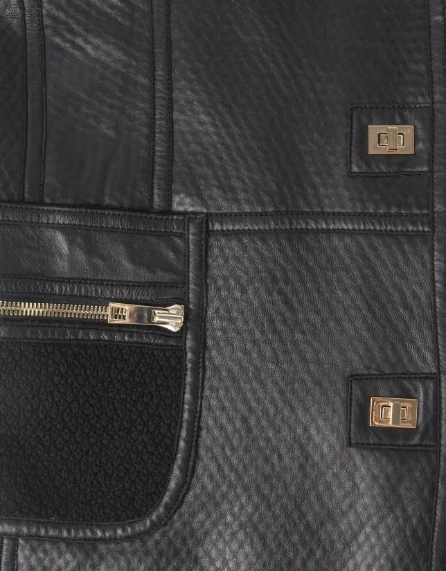 Black lambskin three quarter jacket