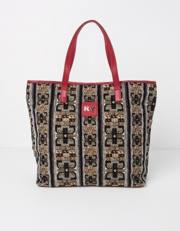 Jacquard and nappa shopping bag