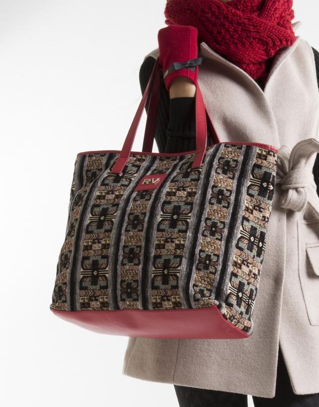 Jacquard and nappa shopping bag