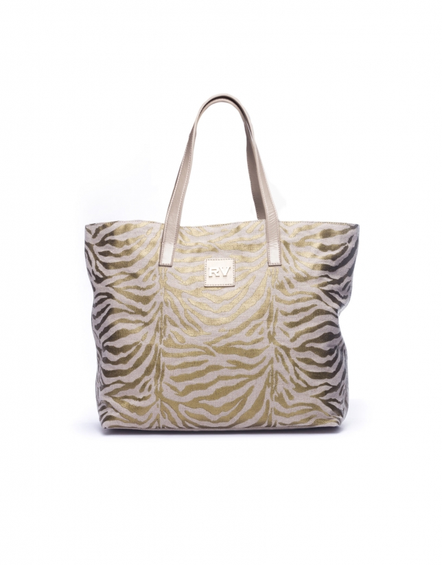 AFRICA:  Gold zebra print shopping bag