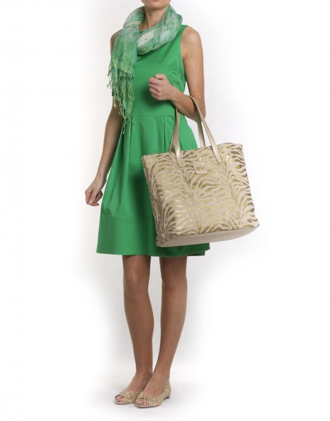AFRICA:  Gold zebra print shopping bag