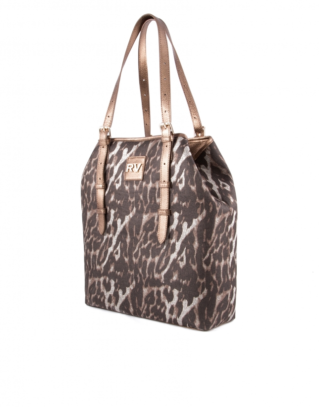 Sac Paulina Leopard en tissu imprimé animal et cuir vachette métallisé
