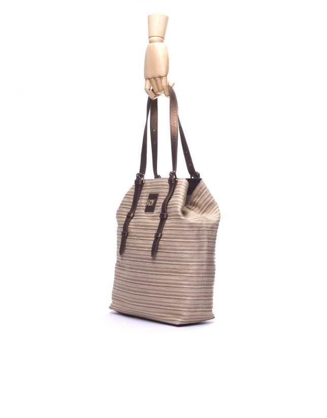 PAULINA:  Raffia and lurex striped tote