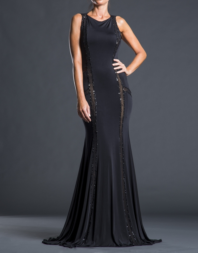 Black skinny dress with beading