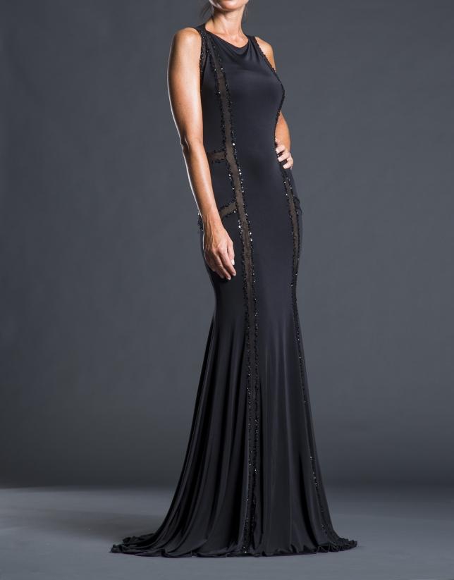 Robe sirène pierreries noir