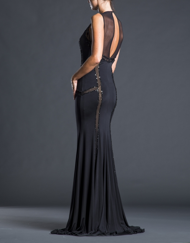 Black skinny dress with beading