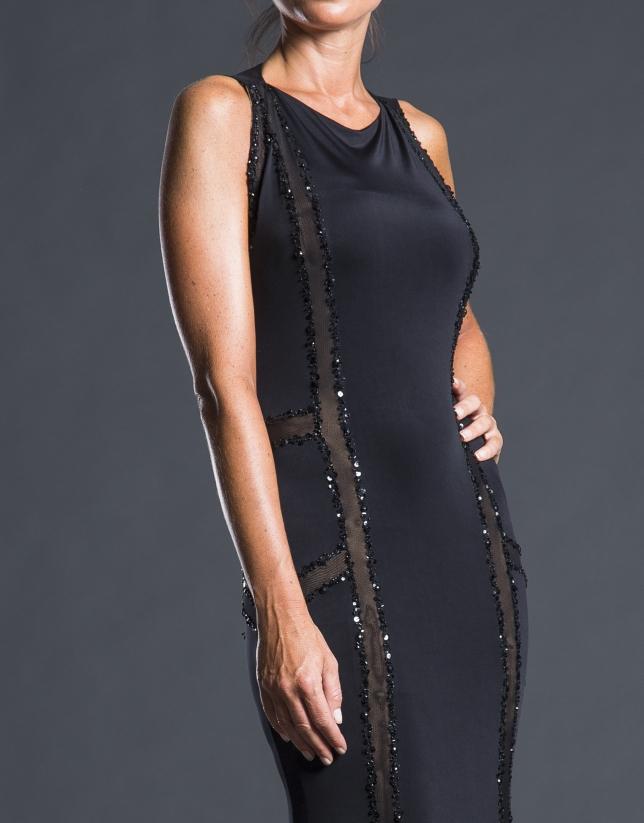 Vestido sirena negro pedrería
