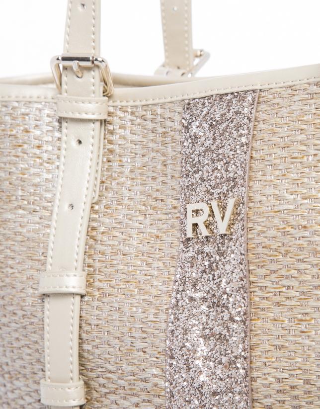 Paulina Rustic gilded metallic raffia  tote bag
