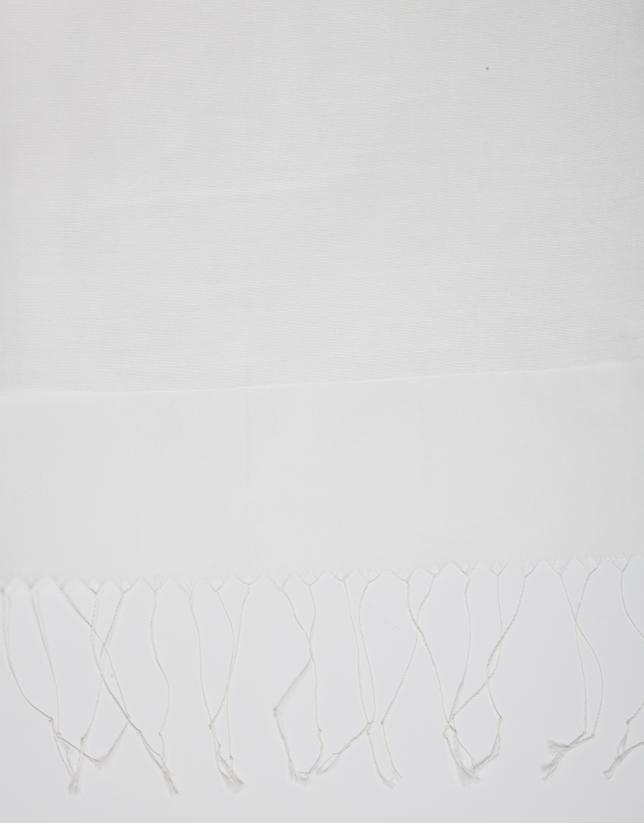 Foulard blanc à franges