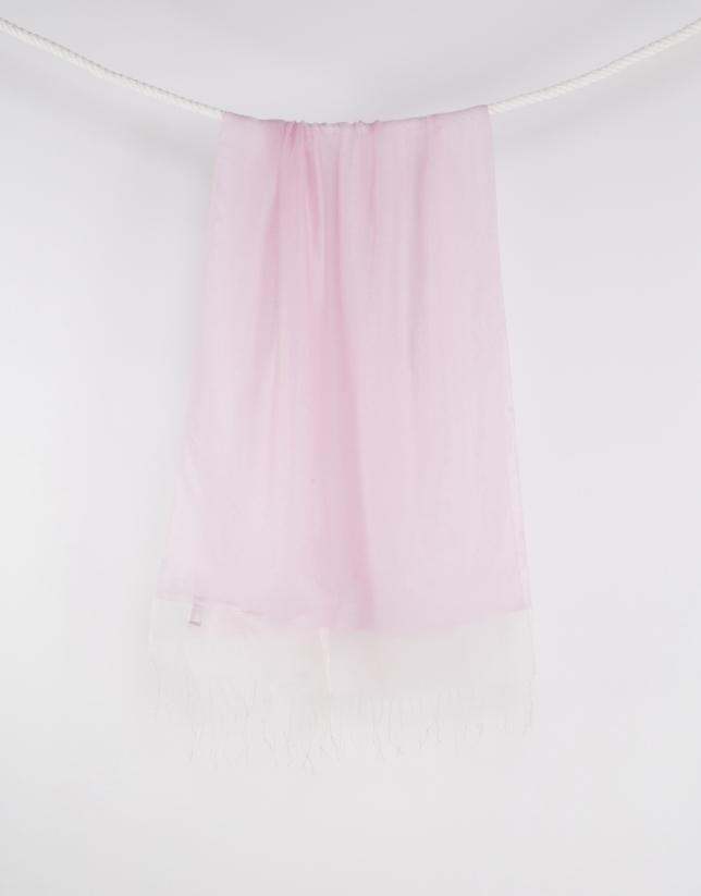 Foulard rose à franges