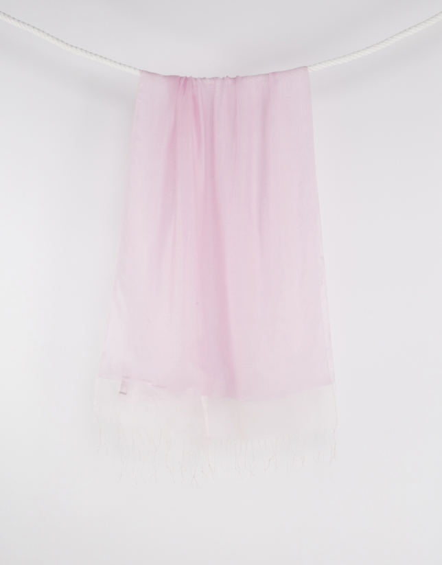 Pink fringed scarf
