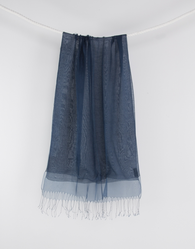 Blue fringed scarf