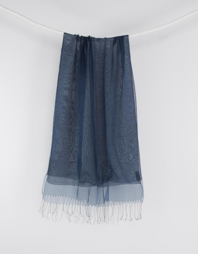 Foulard bleu à franges