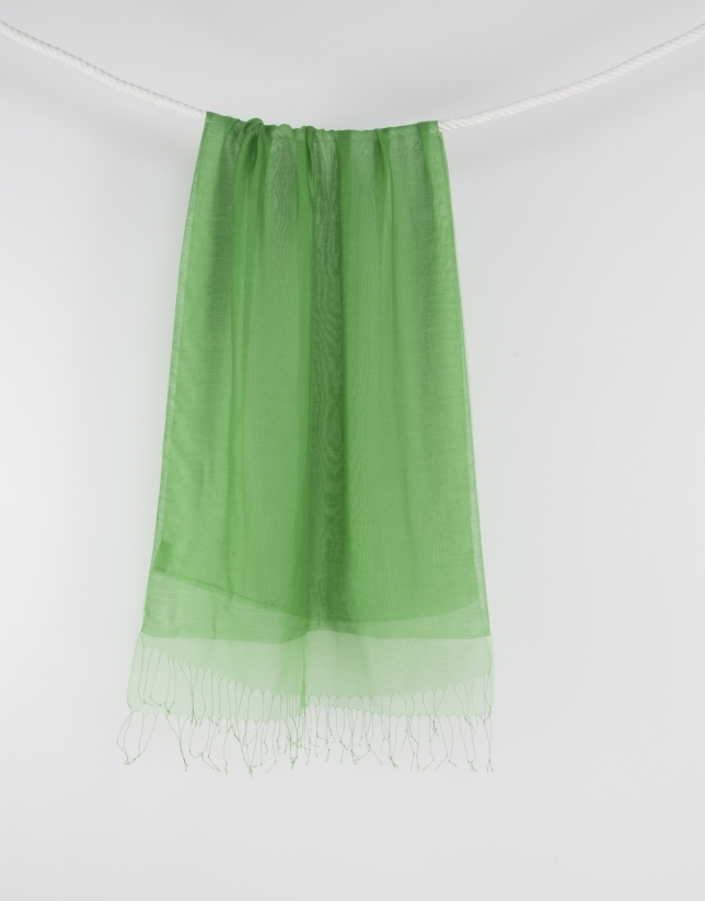Green fringed scarf