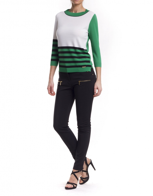 Long sleeve asymmetric striped jersey