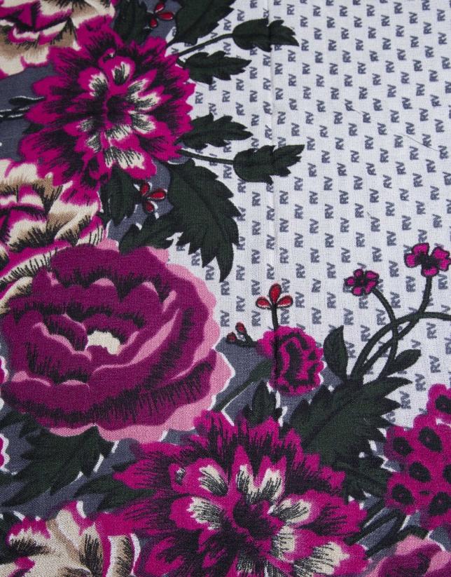 Foulard RV à motif floral roses