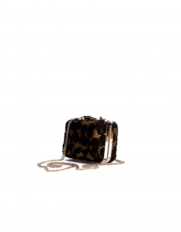 LADY:  Metalized leather clutch with black lace