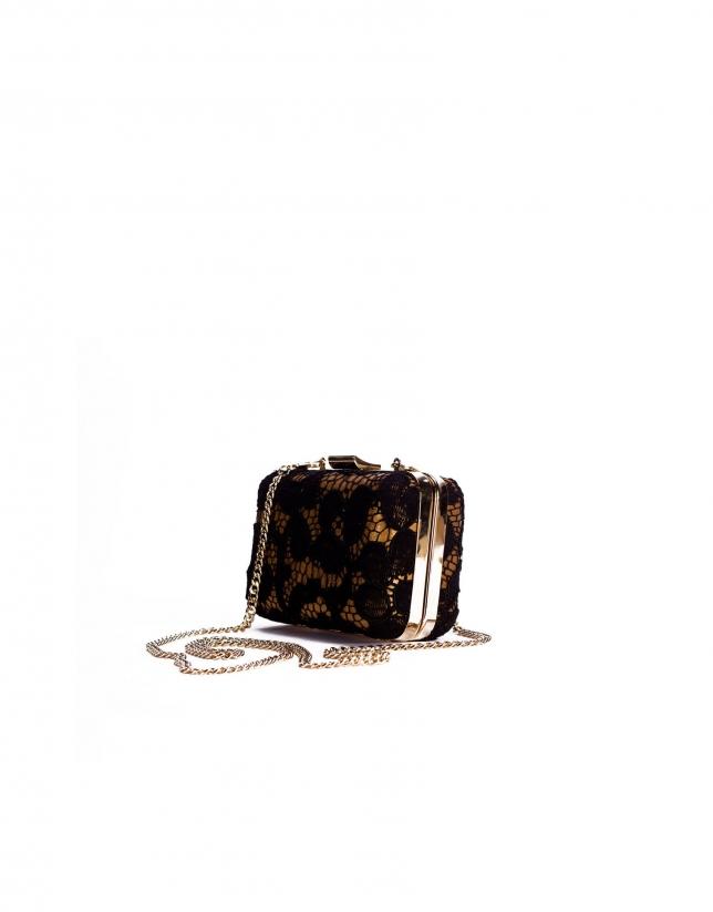 LADY Sac de soirée rigide cuir métallisé et dentelle noire