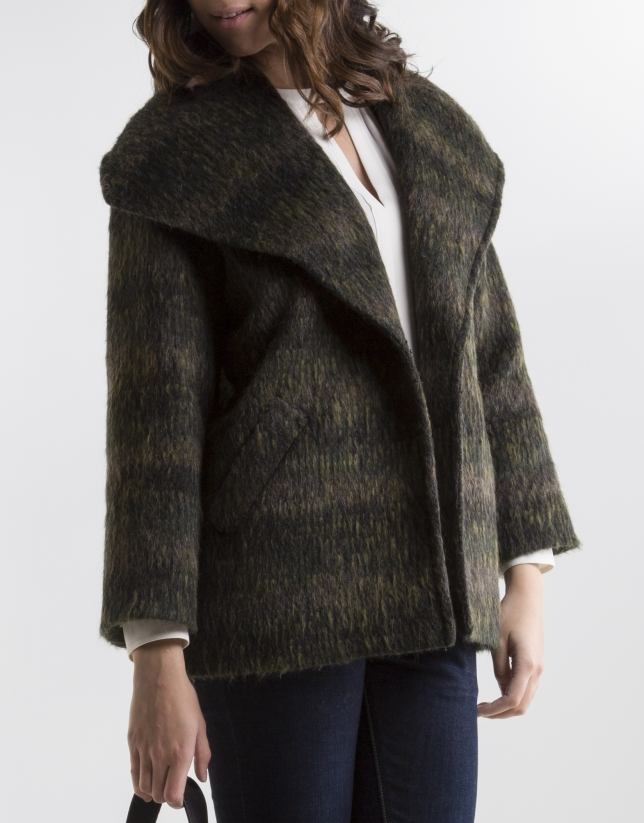 Grey coat with lapel collar