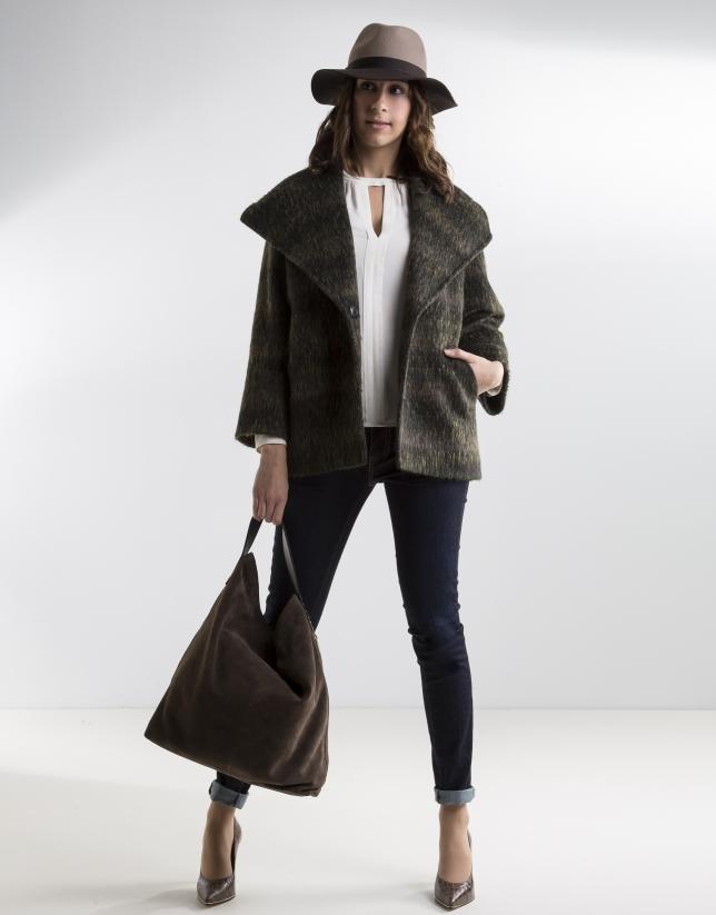 Manteau gris col à revers