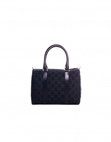 EMILIA: Navy blue jacquard and cowhide bowling bag