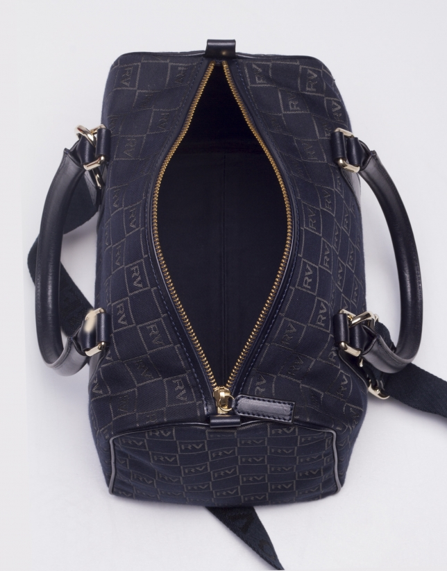 EMILIA MARINO: Navy blue jacquard and cowhide bowling bag