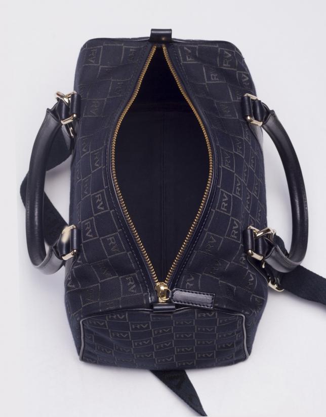 EMILIA MARINO: Navy blue jacquard and cowhide bowling bag