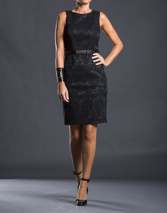 Black fitted damask dress