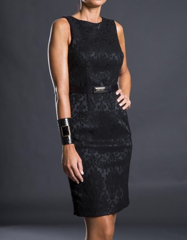 Black fitted damask dress