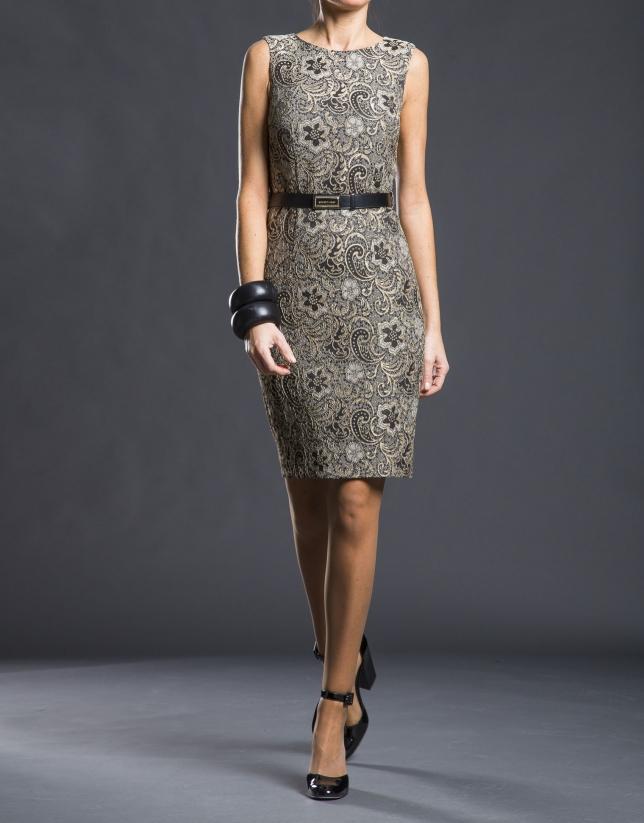 Black  gold damask dress