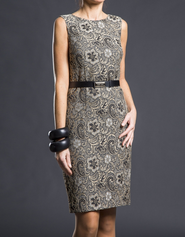 Black  gold damask dress