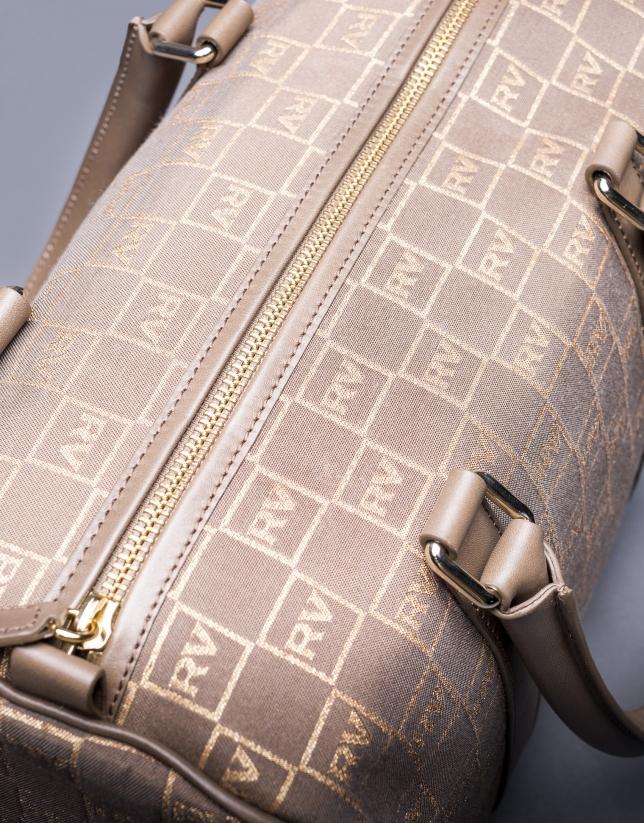 Bolso Emilia en jaquard RV  topo con lurex dorado y piel vaqueta