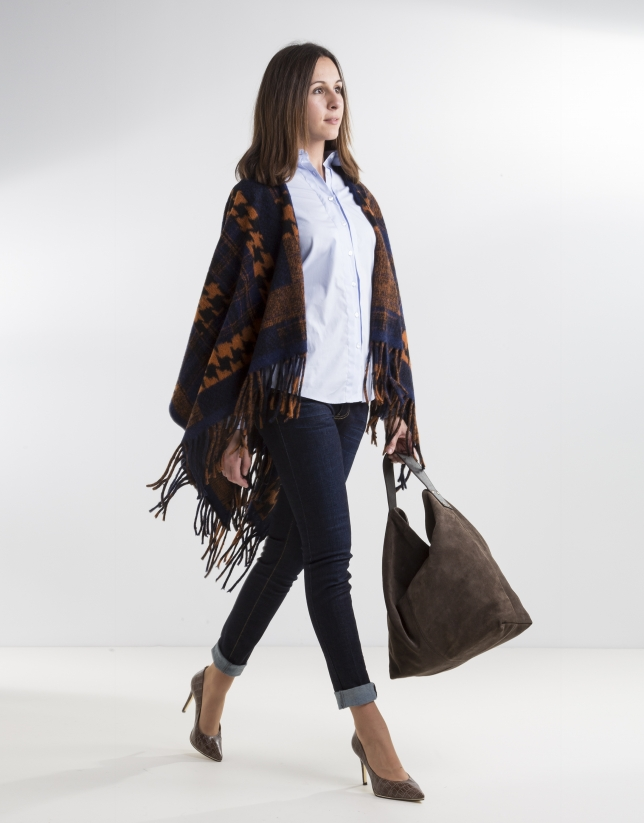 Orange/blue print wool poncho