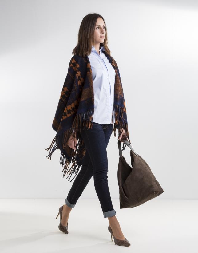 Orange/blue print wool poncho