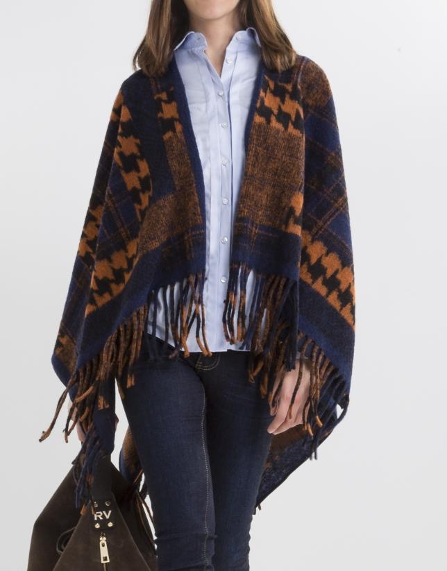 Poncho lana estampado naranja/azul