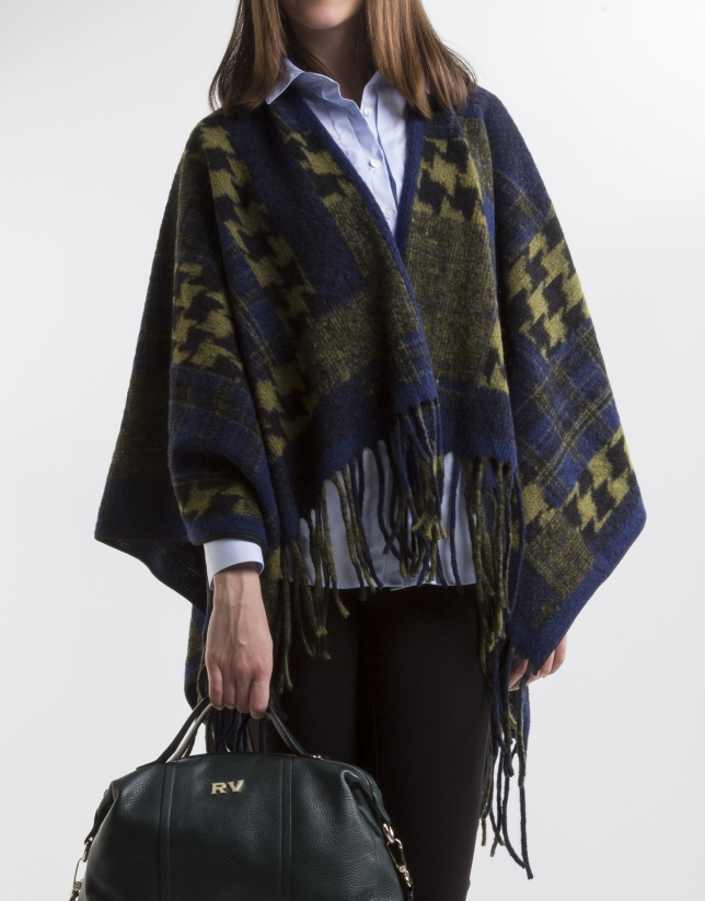 Green/blue print wool poncho
