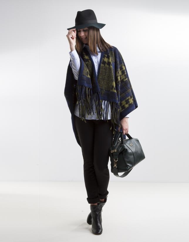 Poncho lana estampado verde/azul