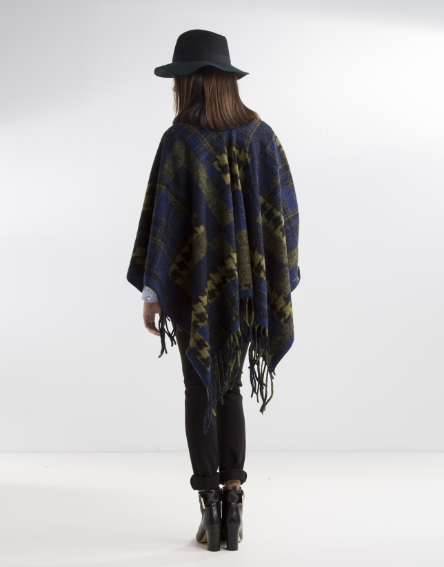 Green/blue print wool poncho